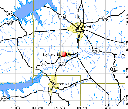 Taylor, MS map