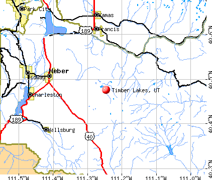 Timber Lakes, UT map