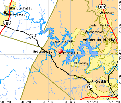 Briarcliff, TX map