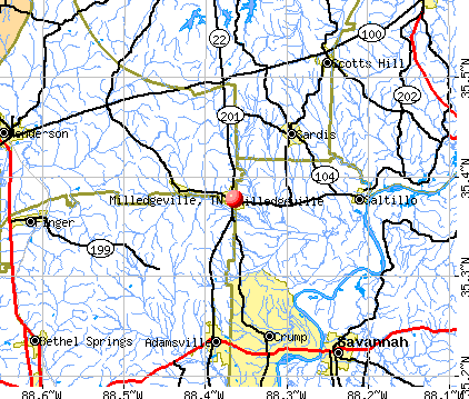 Milledgeville, TN map