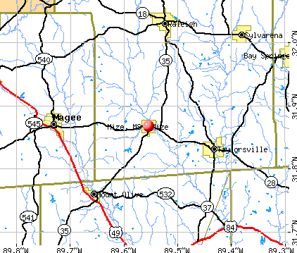 Mize, MS map