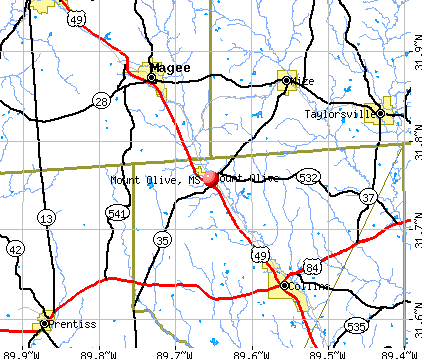 Mount Olive, MS map