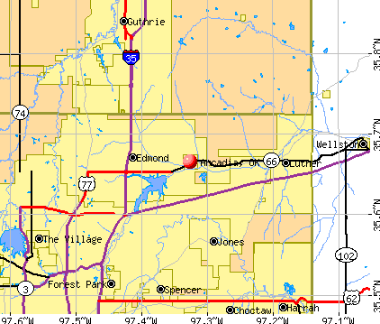 Arcadia, OK map