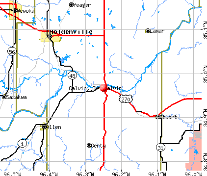 Calvin, OK map