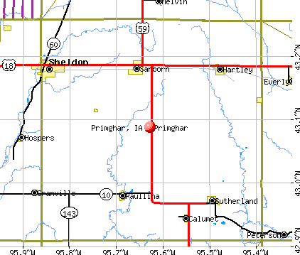 Primghar, IA map