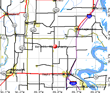 Wardell, MO map