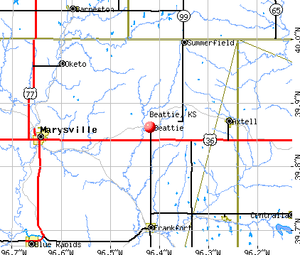 Beattie, KS map