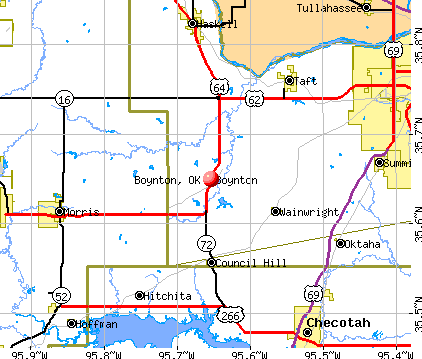 Boynton, OK map