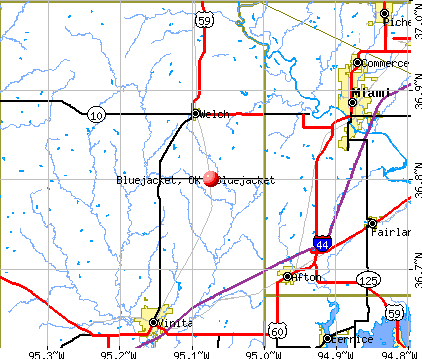 Bluejacket, OK map