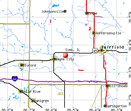 Sims, IL map