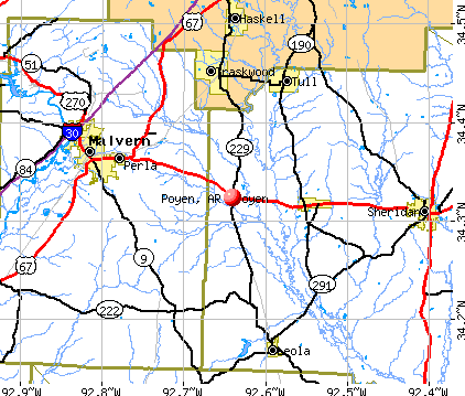 Poyen, AR map