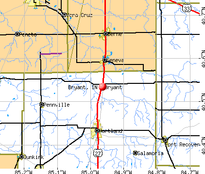 Bryant, IN map