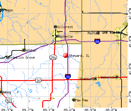 Steward, IL map