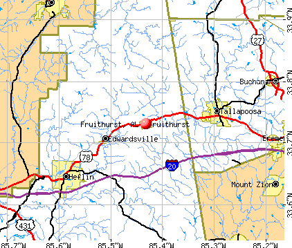 Fruithurst, AL map