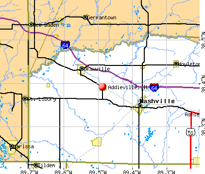 Addieville, IL map