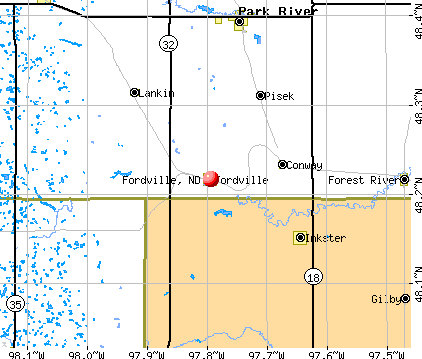 Fordville, ND map