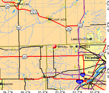 Berkey, OH map