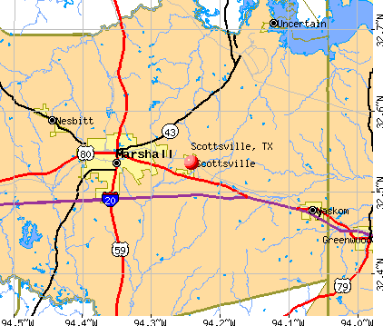 Scottsville, TX map