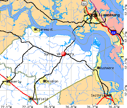 Surry, VA map