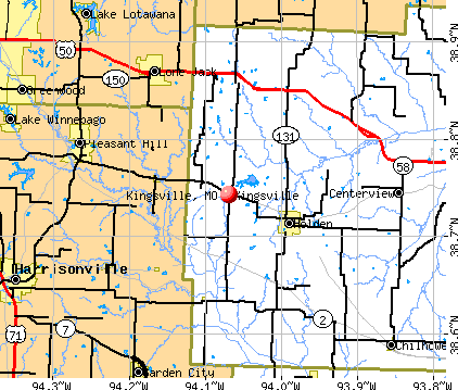 Kingsville, MO map