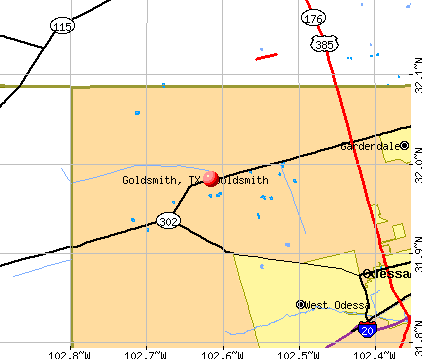 Goldsmith, TX map