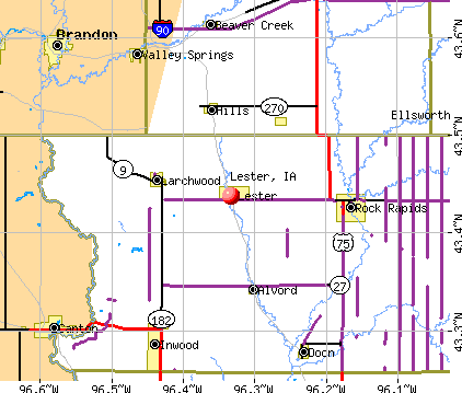 Lester, IA map