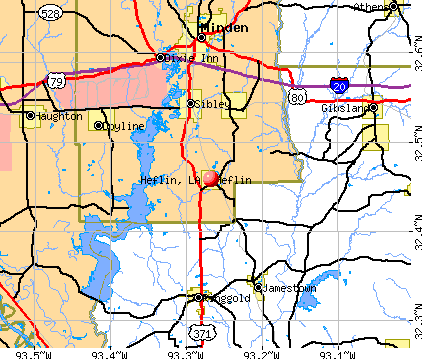 Heflin, LA map