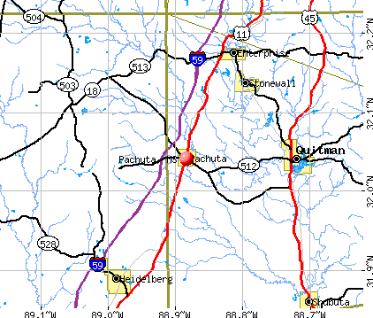 Pachuta, MS map