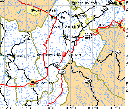 Crossnore, NC map