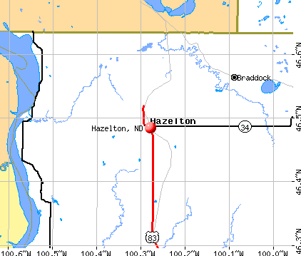 Hazelton, ND map