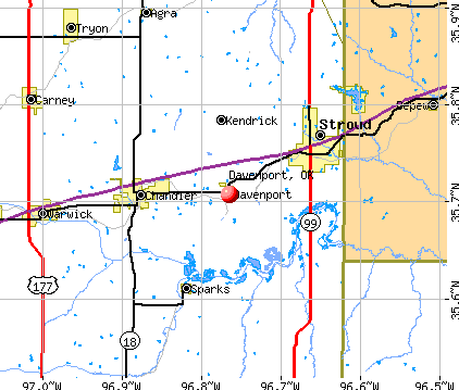 Davenport, OK map