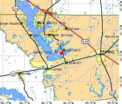 Caney City, TX map
