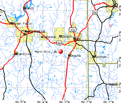 Horn Hill, AL map