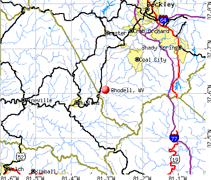 Rhodell, WV map