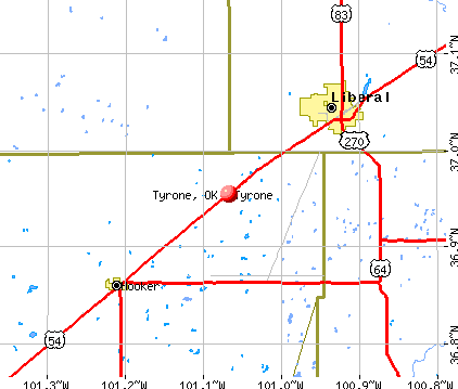 Tyrone, OK map