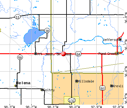 Nash, OK map