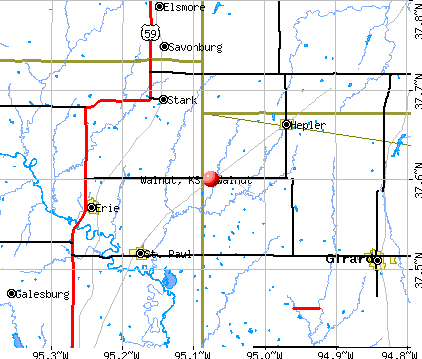 Walnut, KS map