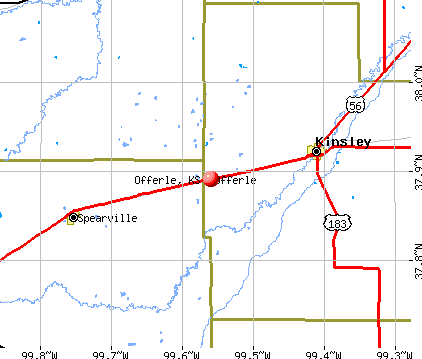 Offerle, KS map
