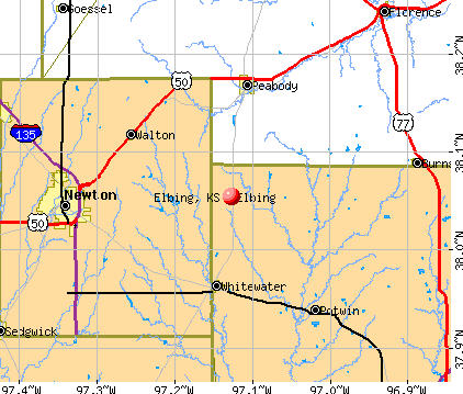 Elbing, KS map