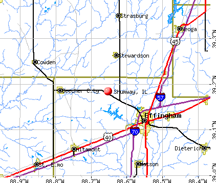 Shumway, IL map