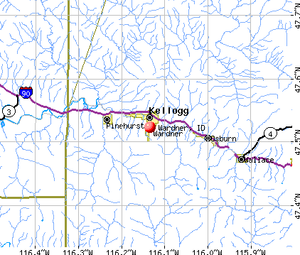 Wardner, ID map