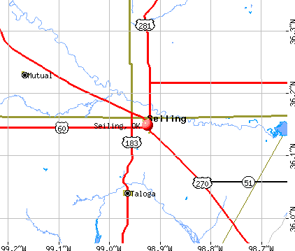 Seiling, OK map