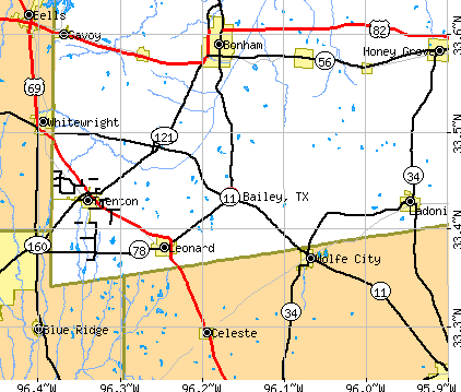 Bailey, TX map
