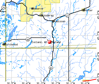 Exeland, WI map