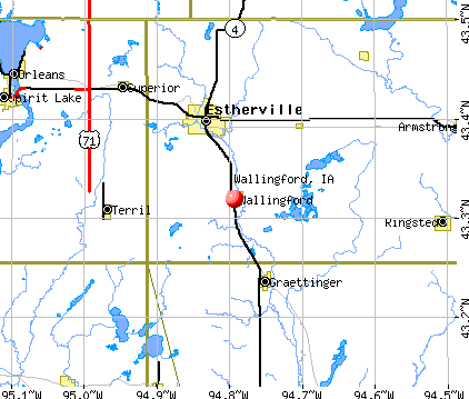 Wallingford, IA map