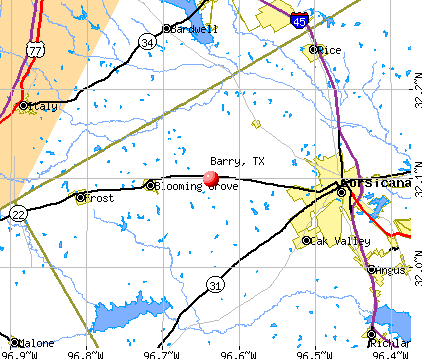 Barry, TX map