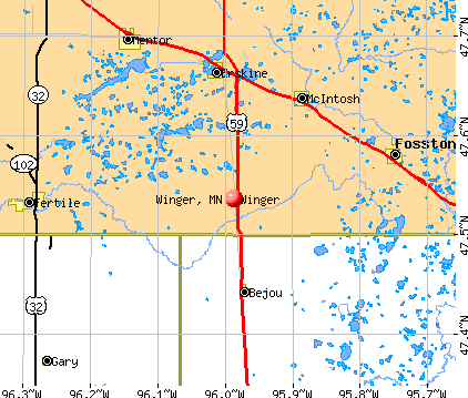 Winger, MN map