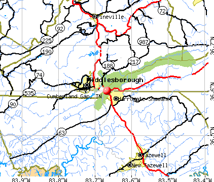 Cumberland Gap, TN map