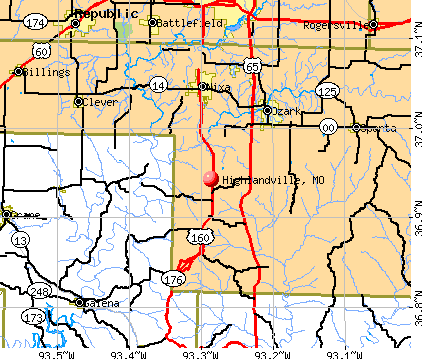 Highlandville, MO map