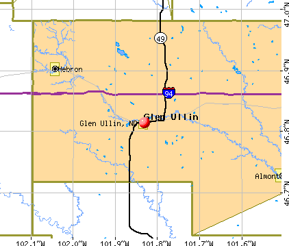 Glen Ullin, ND map